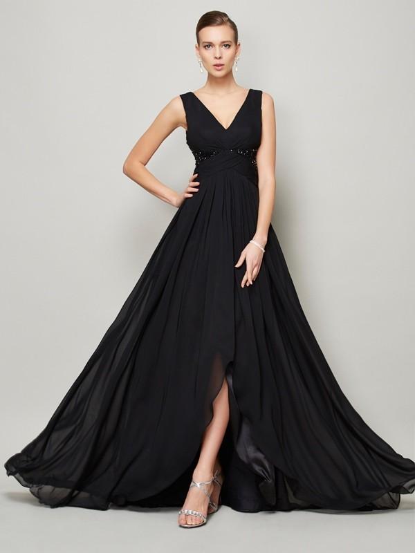 V-Neck Long Chiffon Gown