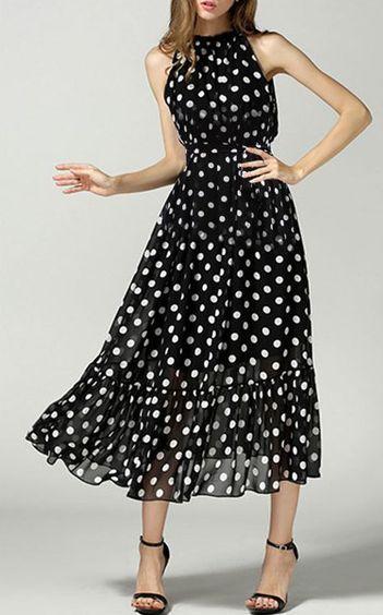 Polka Dot Chiffon Gown